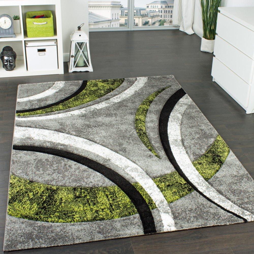 Paco Home Designer Teppich Mit Konturenschnitt Streifen Modell Grau Grün  Schwarz Meliert, Grösse:80x300 Cm: Amazon.de: Küche U0026 Haushalt