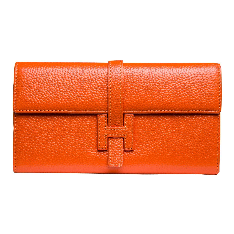 Jonon Women's Genuine Leather Wallets Long Clutch Purses Handbags (Orange)