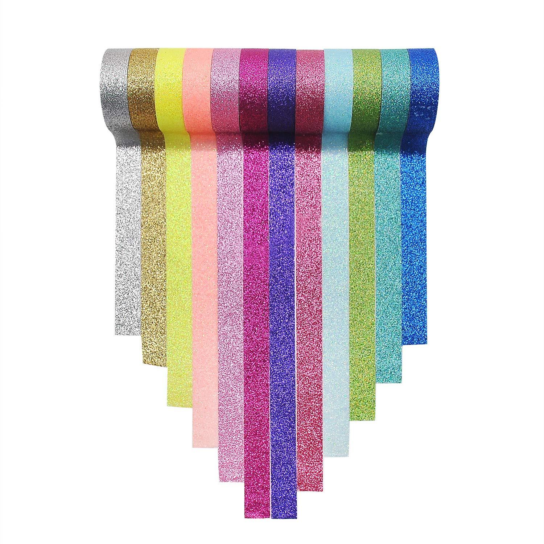 12 Cintas adhesivas con glitter (3m largo)
