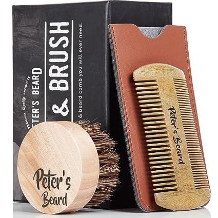 Premium Cepillo de Barba y Peine de Barba de Madera - Antiestático y  Ecológico - Peine 611c946482cf