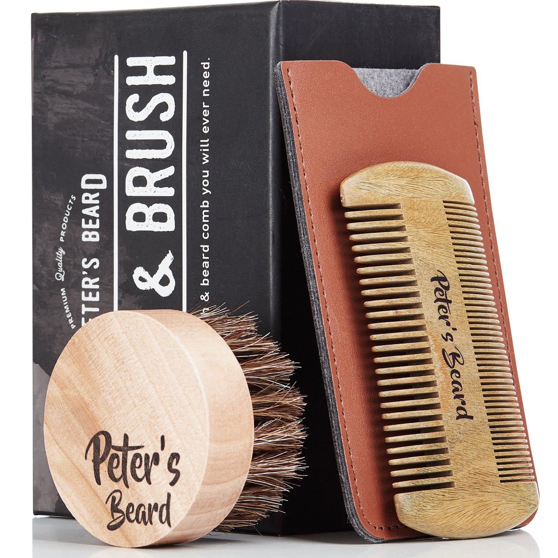 Premium Cepillo de Barba y Peine de Barba de Madera - Antiestático y Ecológico - Peine