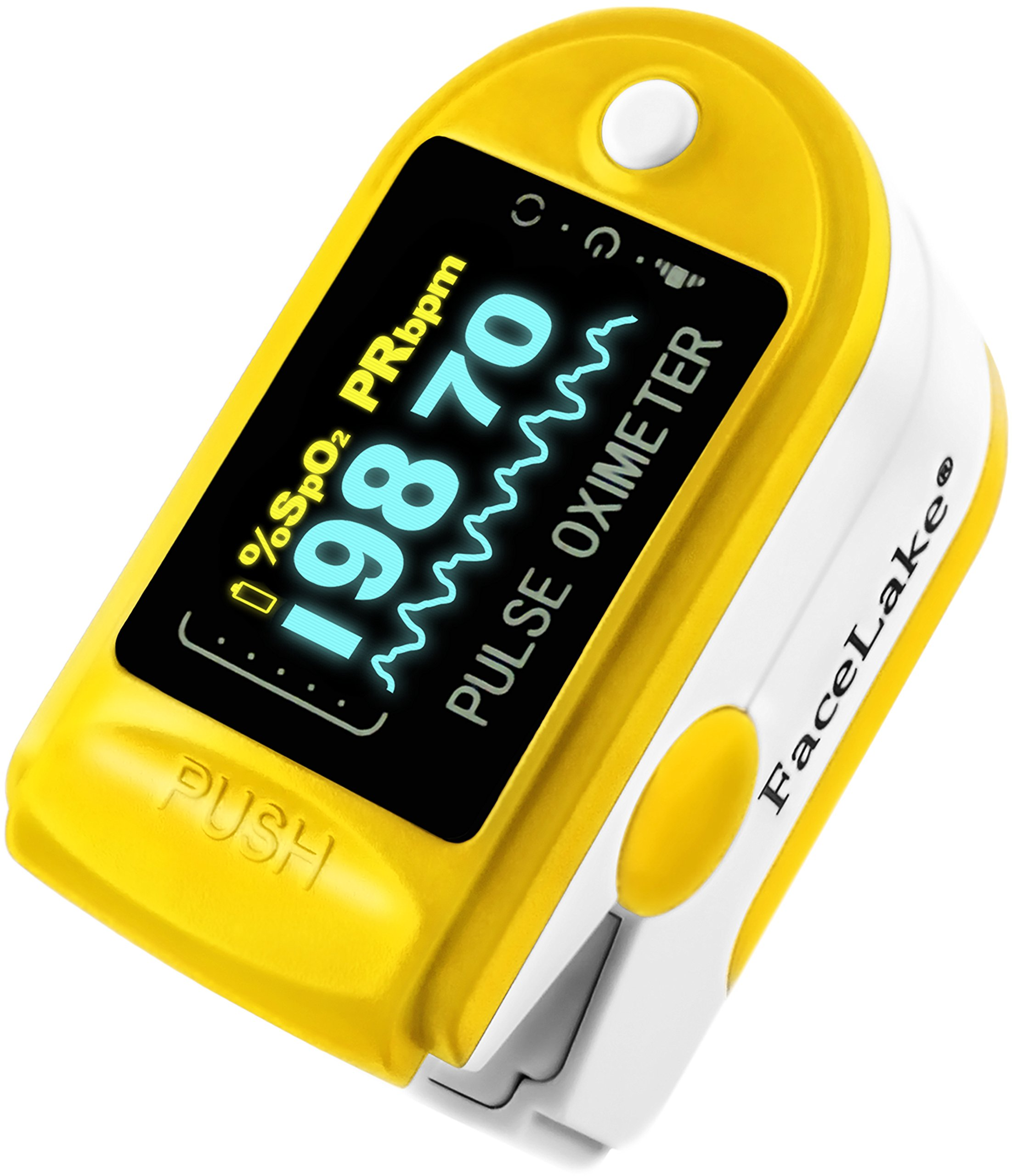 FaceLake Yellow OLED Pulse Oximeter, Carrying Case & Batteries & Lanyard included
