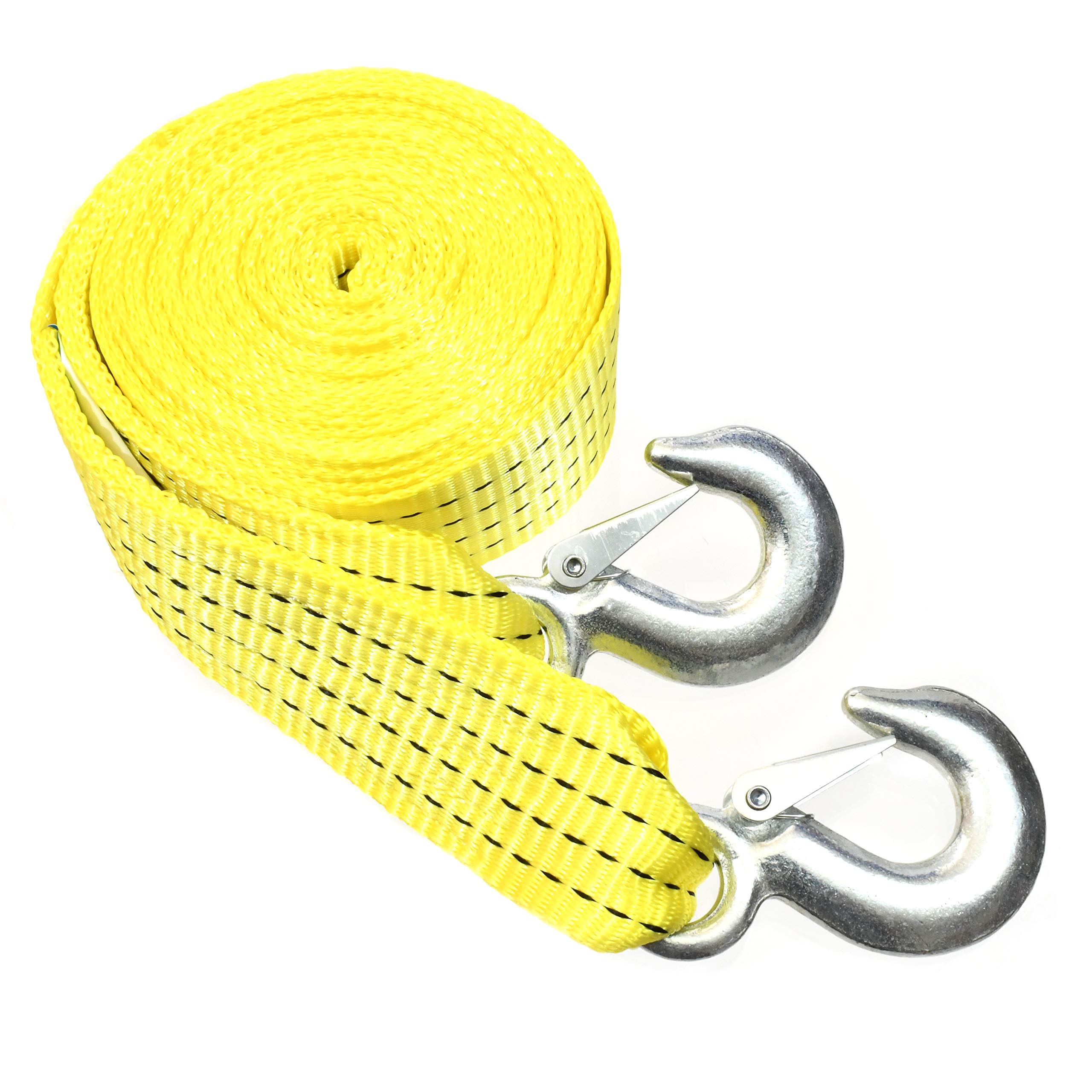 "10,000 LB Heavy Duty Tow Strap with Safety Hooks 2"" x 20' Polyester Superior Strength"
