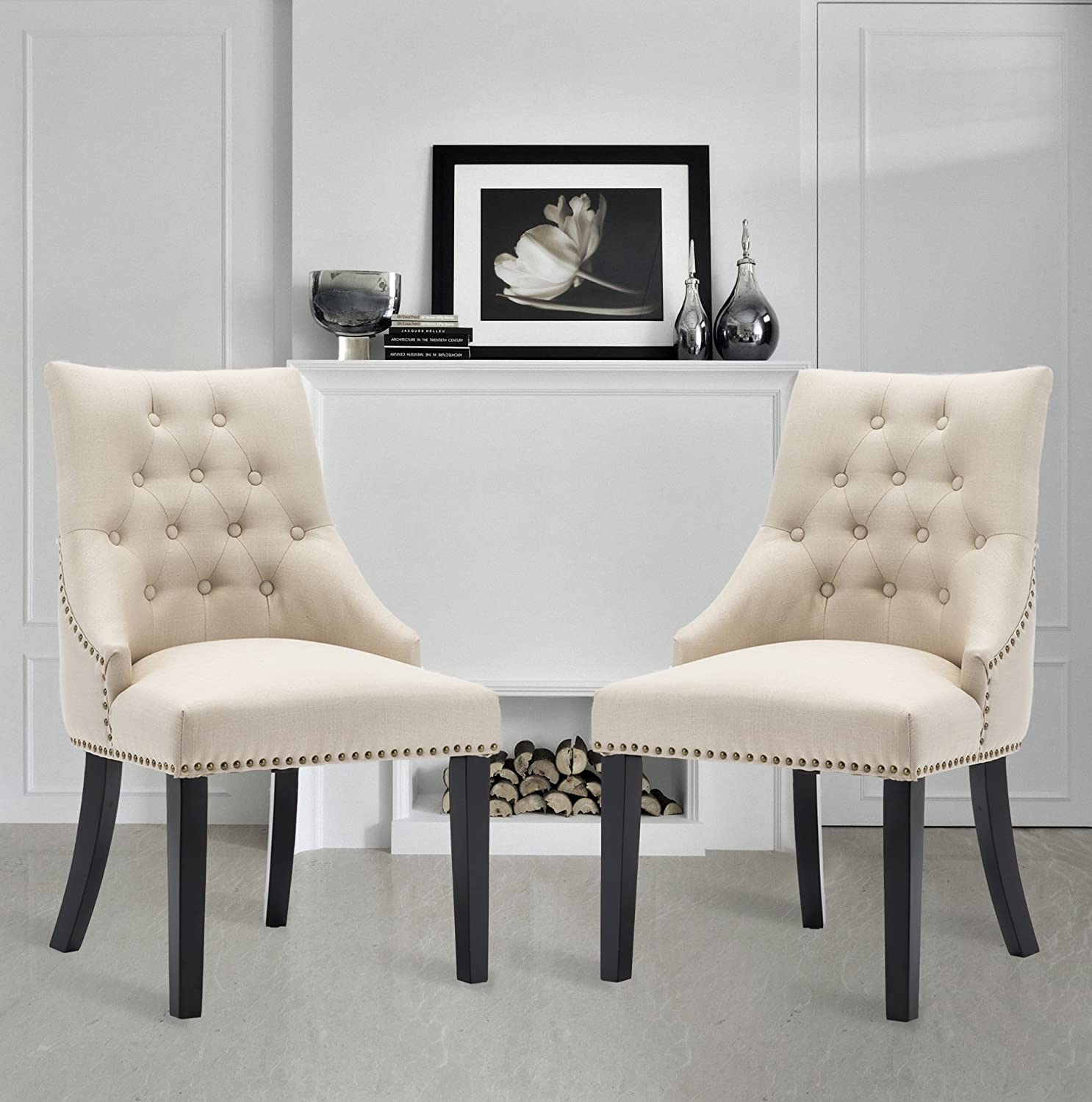 LSSBOUGHT Set of 2 Fabric Dining Chairs Leisure Padded Chairs with Black Solid Wooden Legs,Beige
