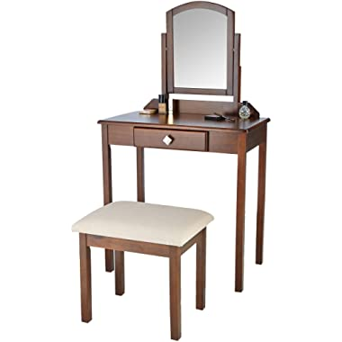 AmazonBasics Classic Compact Vanity Table Set with Stool and Mirror - Brown
