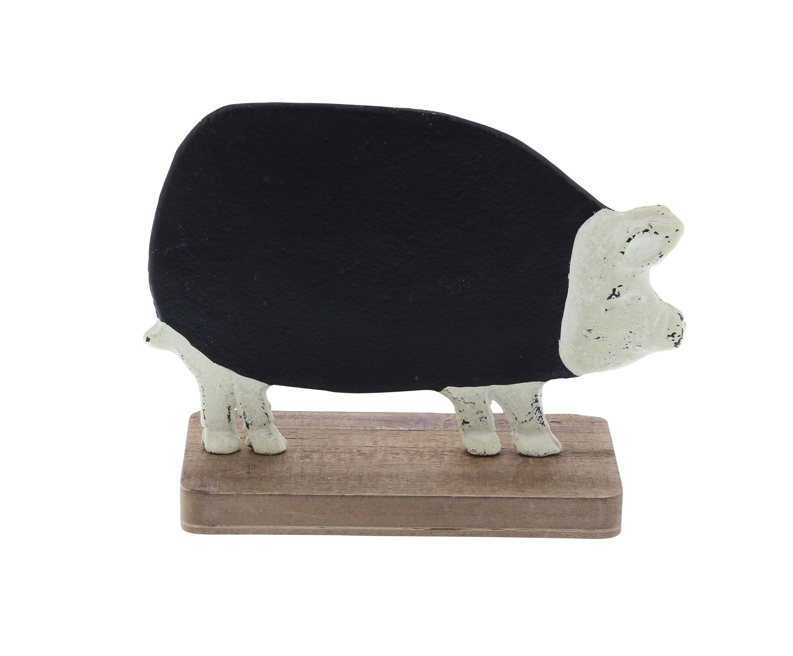 Deco 79 59437 Distressed Iron and Fir Wood Pig Chalkboard, Black/White/Brown