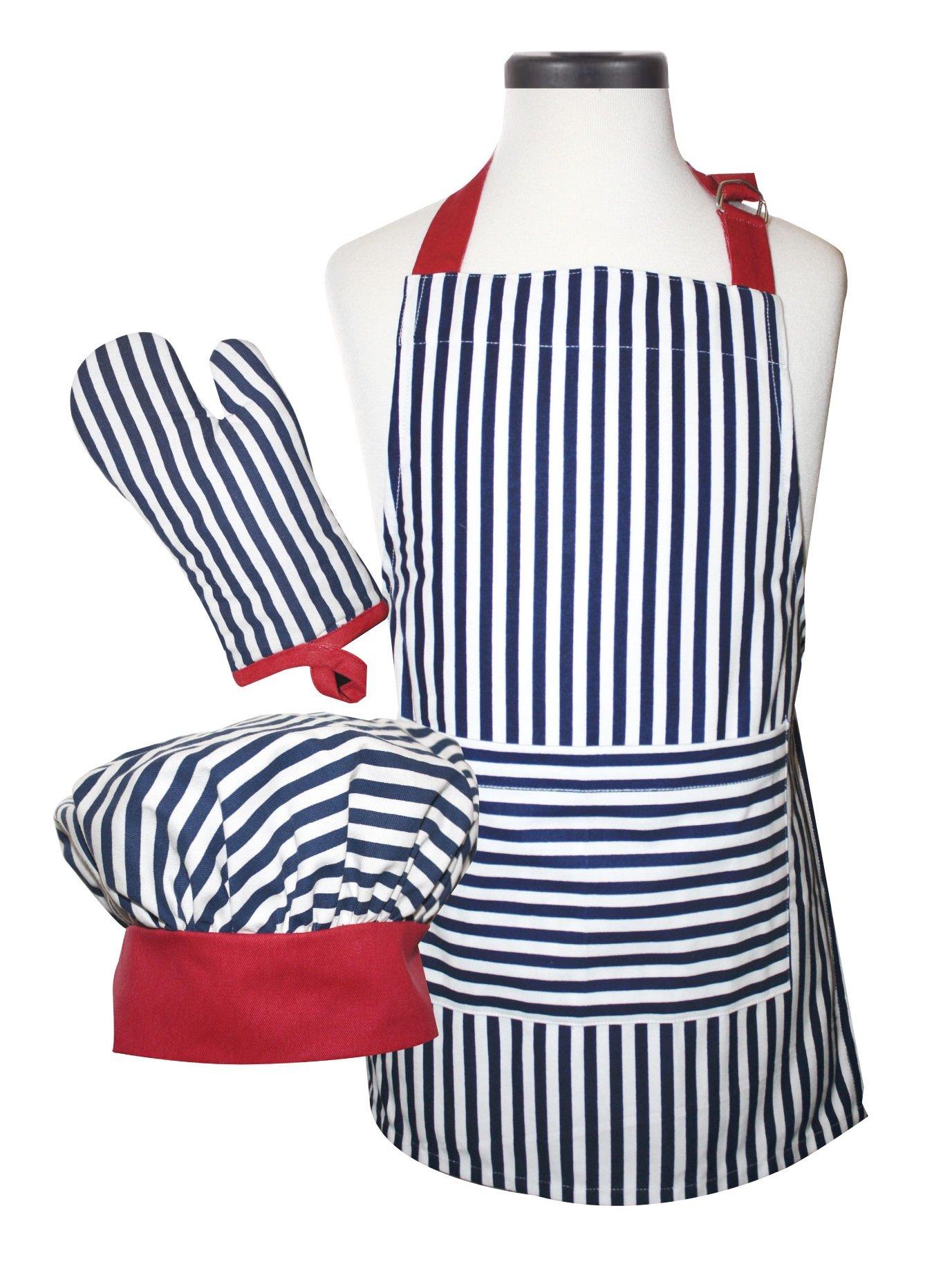 Handstand Kitchen Child's Bold Navy Stripe 100% Cotton Apron, Mitt and Chef's Hat Gift Set