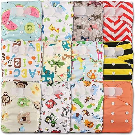 LittleBloom Pañal de tela reutilizable, de bolsilllo, cierre:Velcro, juego de 12, varios estampados diseños 1204 Talla:12 pañales solo: Amazon.es: Bebé