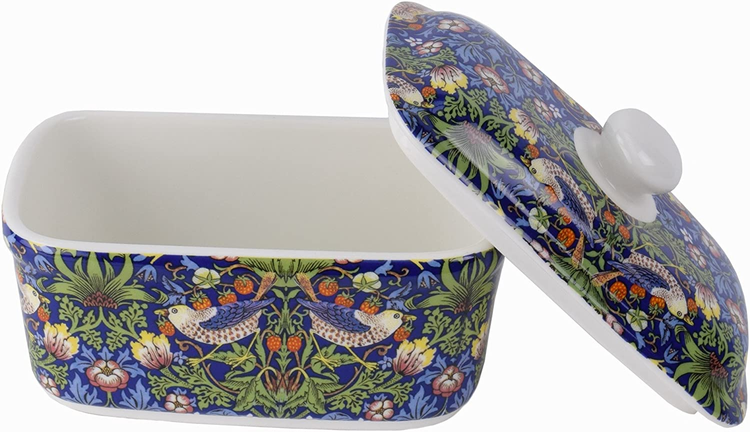 William Morris Blue Strawberry Thief Butter Dish