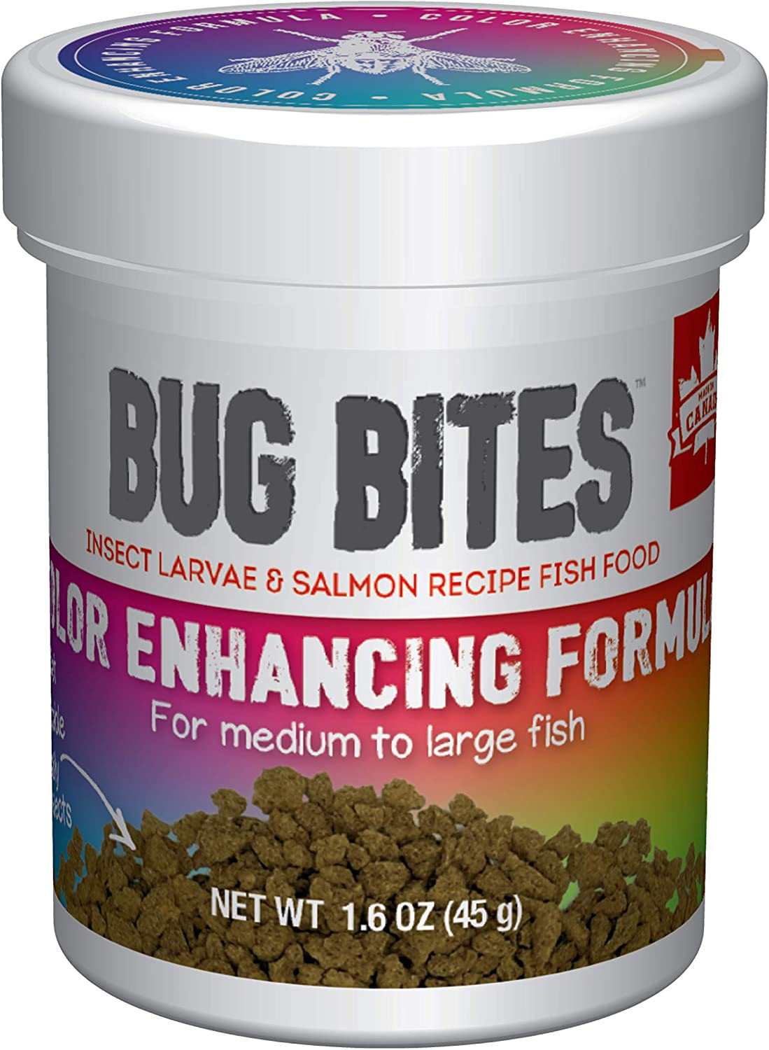 Fluval Bug Bites Color Enhancing Fish Food for Tropical Fish, Granules for Medium to Large Sized Fish, 1.6 oz., A6589, Brown