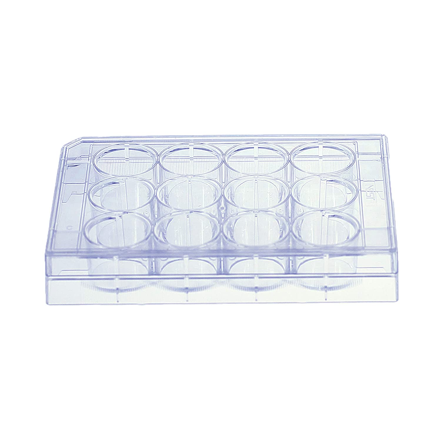 Image of Sapphire 12 Well Tissue Culture Plate for Optimal Cell Culture Growth, Individually Wrapped with Lid, Sterile, 3.6 cm² Growth Area, 50 Treated Cell Culture Plates per case Cell Culture Dishes