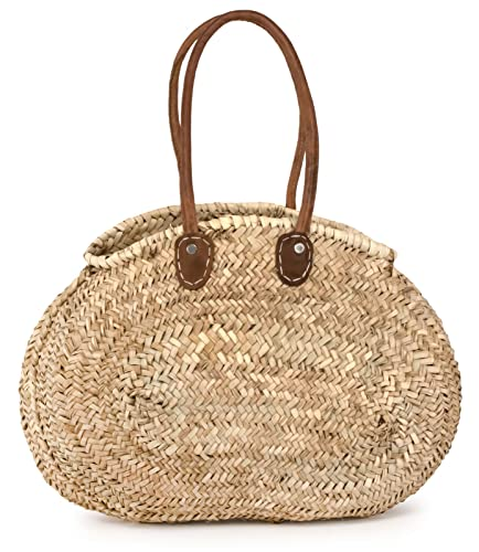 Amazon.com: Marroquí paja (ovalada, bolsa W/bolso de piel ...