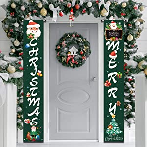 Outdoor Christmas Decorations | Merry Christmas Banner Sign,Hanging Christmas Door Decorations for Home Porch Front Door Wall Party Green Christmas Decor- Flags