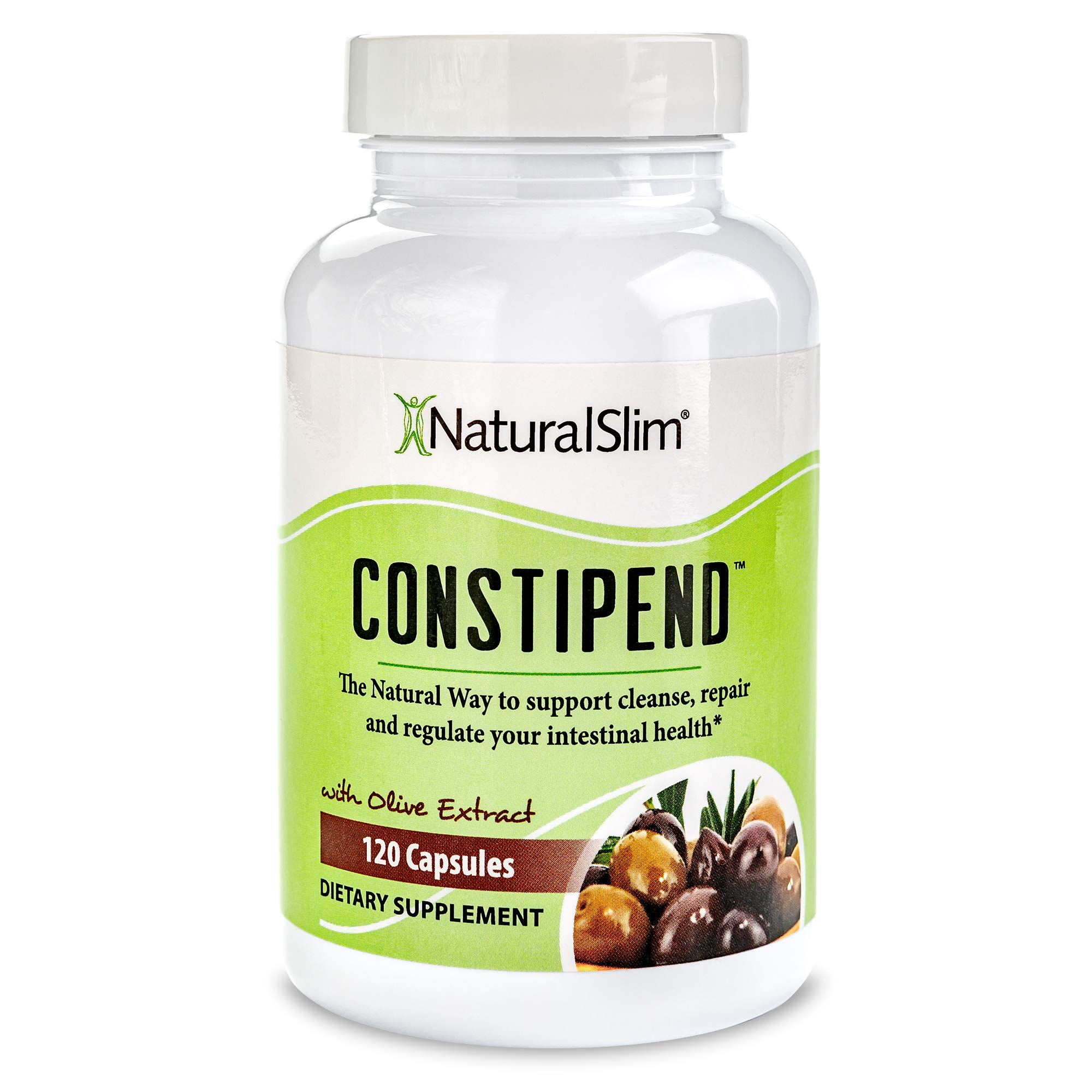 NaturalSlim Constipend - Constipation Relief, Colon Cleanse Supplement - Restores Healthy Magnesium Level, Better Digestion, Improved Metabolism, Support Weight Loss w/ Olive Extract - 120 Capsules