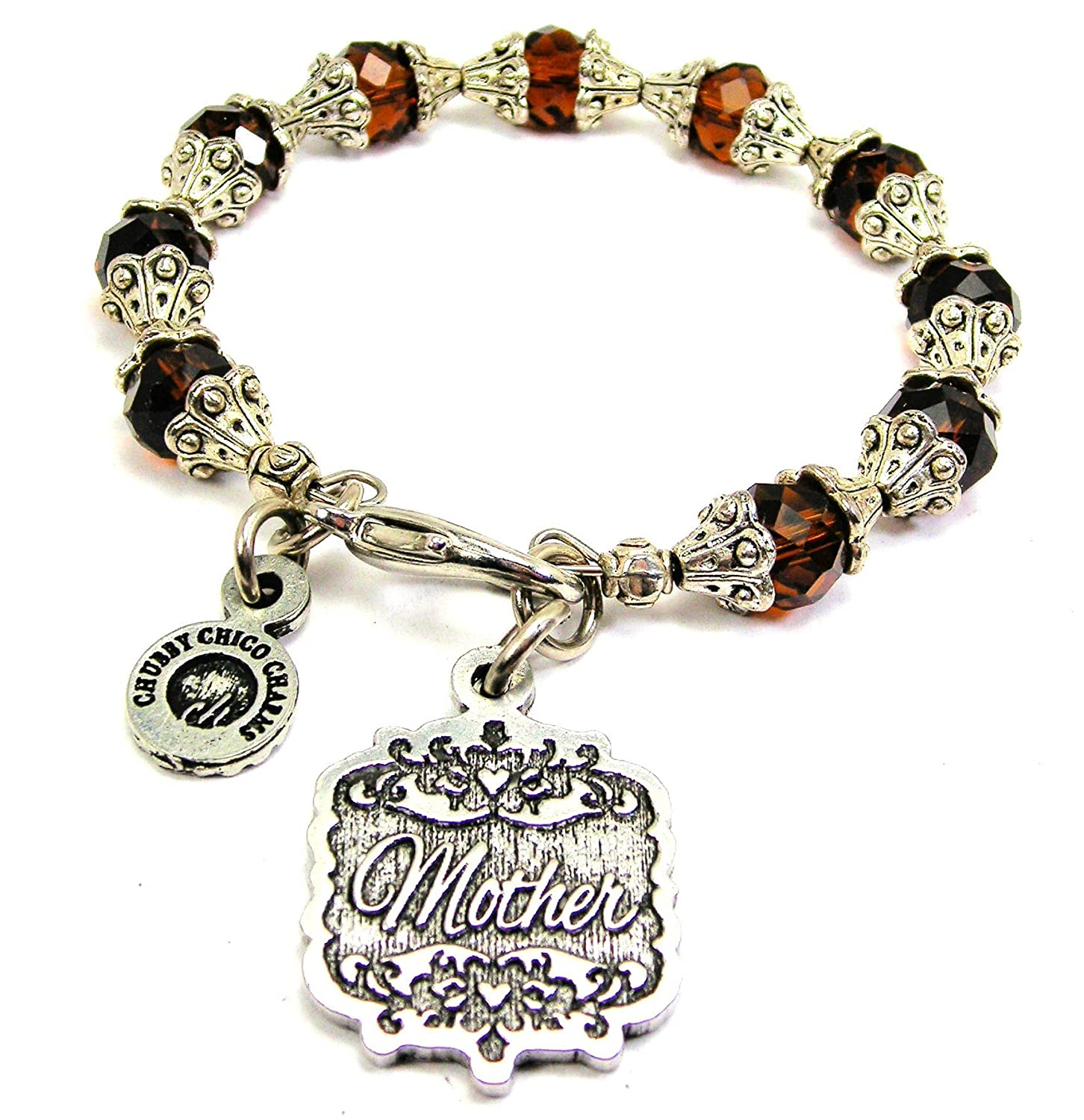 Chubby Chico Charms Mother Victorian Scroll Capped Crystal Bracelet in Chocolate Brown