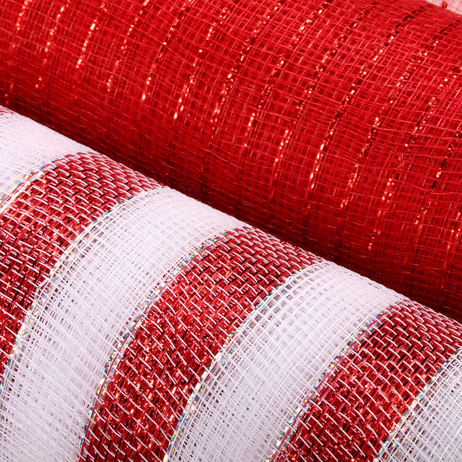 2 Pack Metallic Decor Poly Mesh Ribbon of 10 Inch x 30 Feet Each Roll for Christmas Wreaths Swags and Christmas Tree Decorating Metallic Foil Red and White Rolls, Red Foil