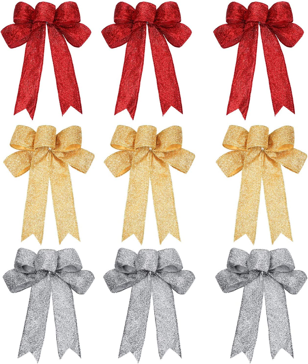 WILLBOND 12 Pieces Glitter Christmas Bows Christmas Wreath Bow Christmas Tree Ornaments Bows for Christmas Party Decoration Gold and Red