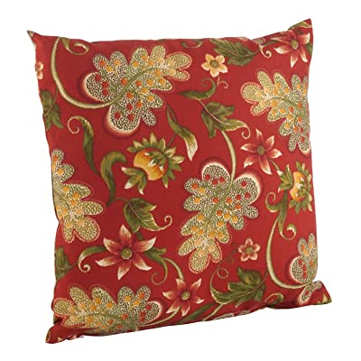 """Fennco Styles Paisley Floral Print Indoor/Outdoor Poly Filled Throw Pillow 17"""" Square (Rouge Flowering Vine 17"""") : Garden & Outdoor"""