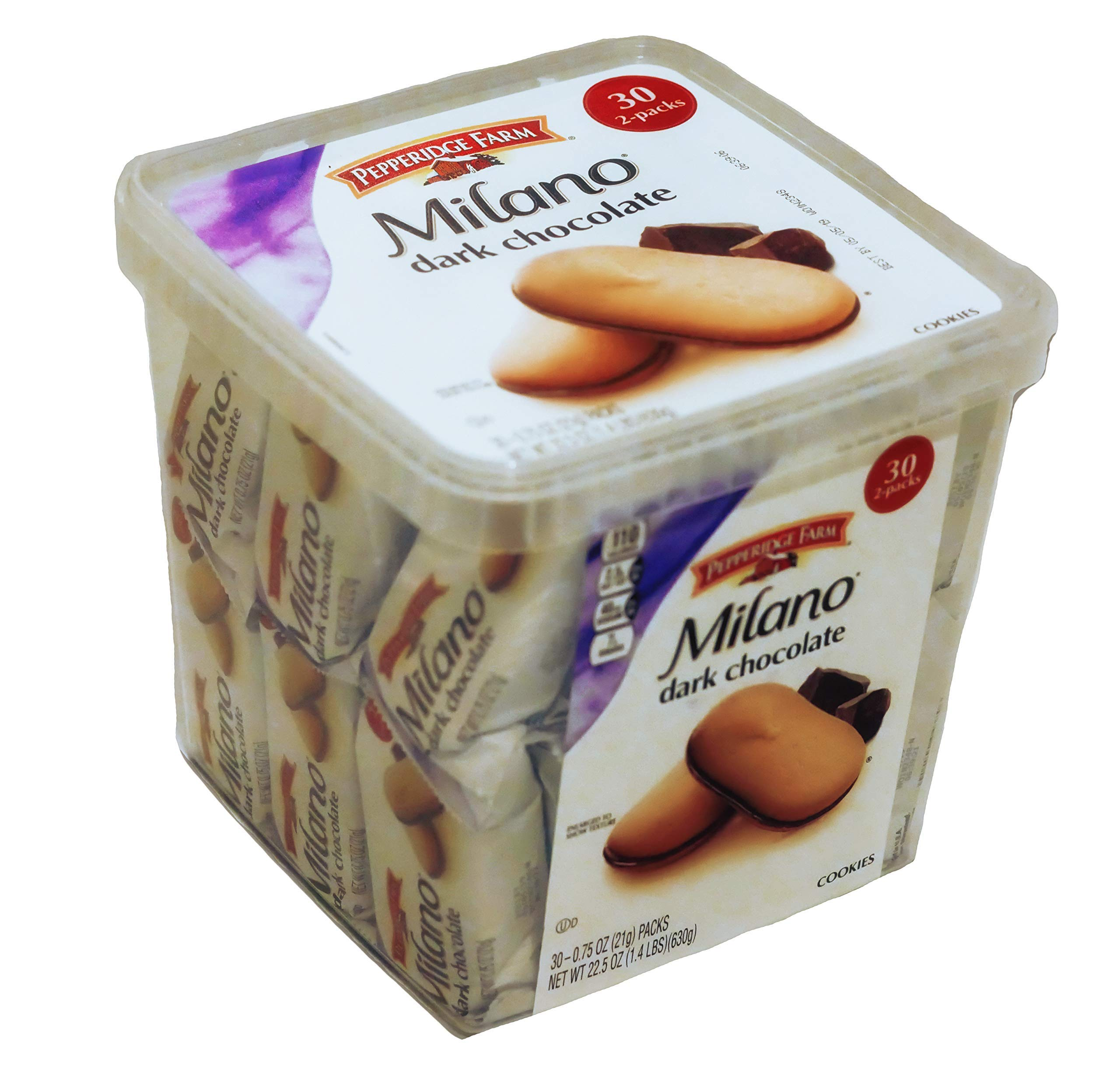 Pepperidge Farm, Milano, Cookies, Dark Chocolate, 22.5 oz, Multi-pack, Tub, 2-packs, 30-count by Pepperidge Farm (Image #1)