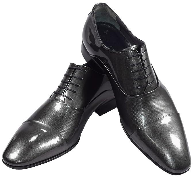 4af892f39740 Pablo Cassini Herren Smoking Schuhe Oxford Lack Leder Hochzeitsschuhe Grau  Silber Hochglanz (41)  Amazon.de  Schuhe   Handtaschen