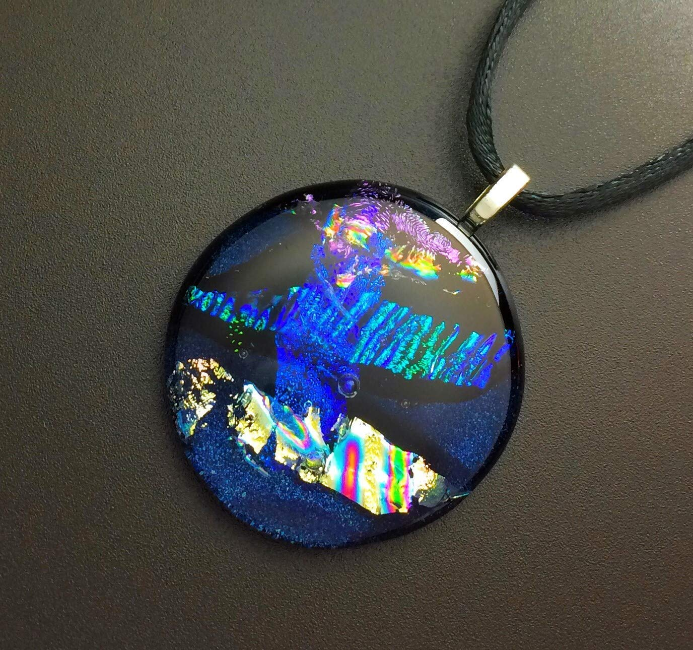 2 inch,Silver Blue,Turquoise,Multi Dichroic Fused Glass Heart Pendant