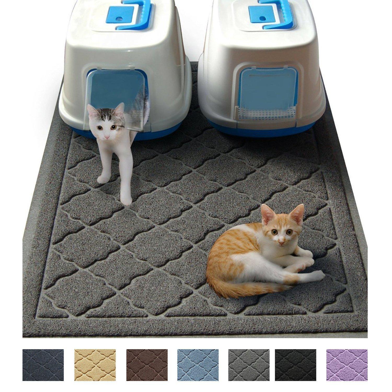 cats sitting on a litter mat
