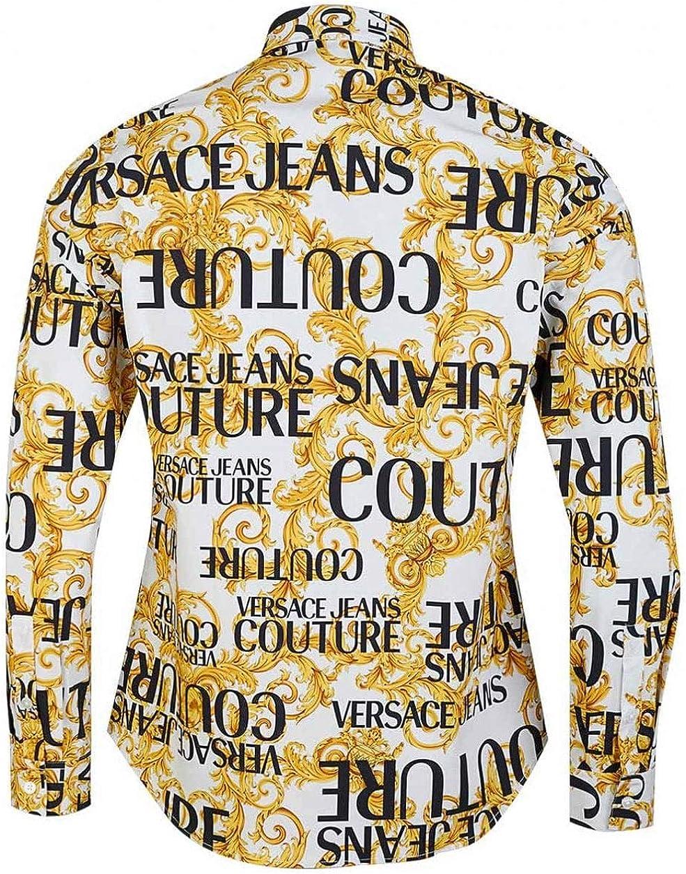 Versace Jeans Couture Men Shirt Logo Baroque Bianco