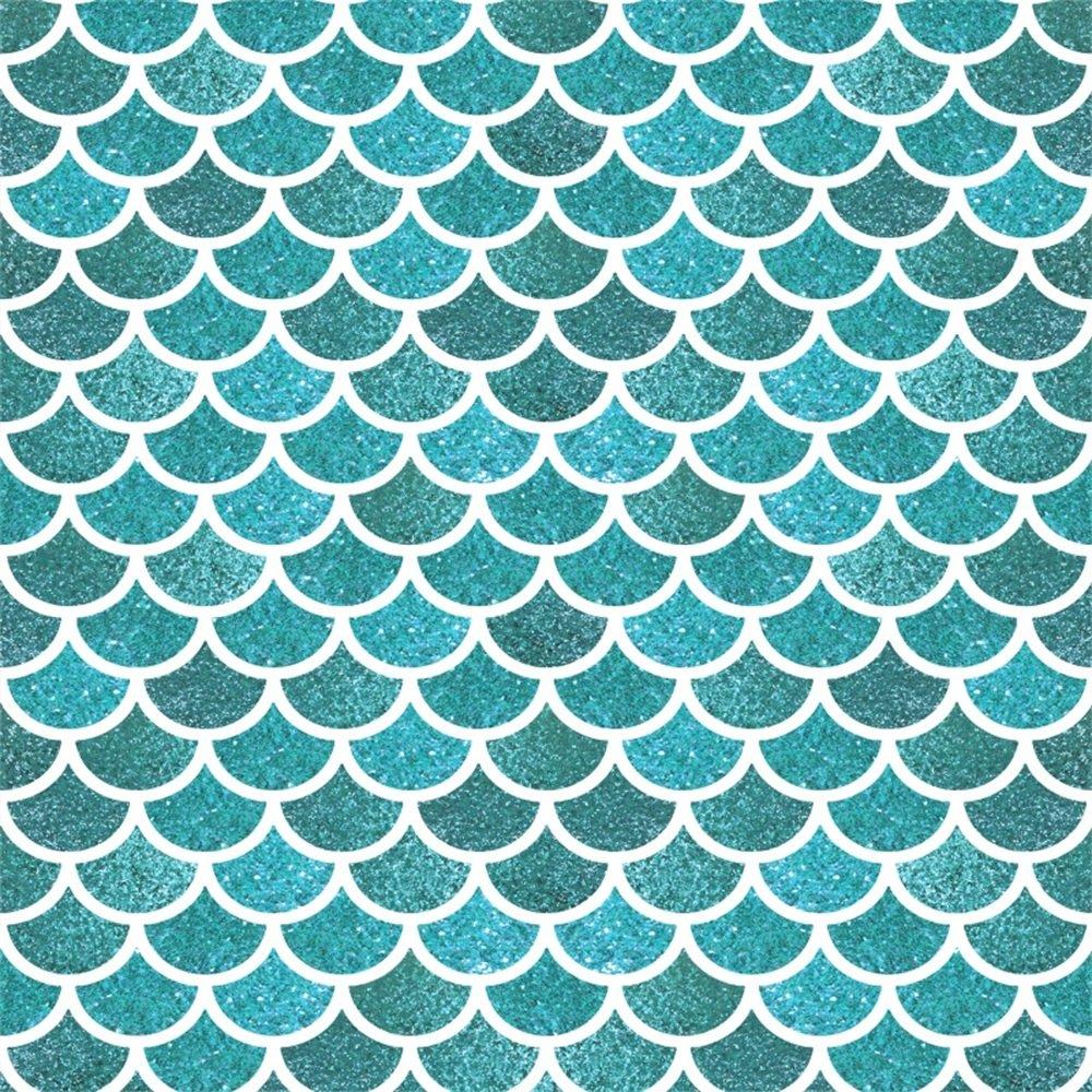 leowefowa 5 x 5ftマーメイドScaleスケールカートゥーンBackdrops写真バックドロップBokeh Ocean Summer Holiday壁紙ビニール写真背景Boys Girs誕生日Studio小道具   B07F8QRM33