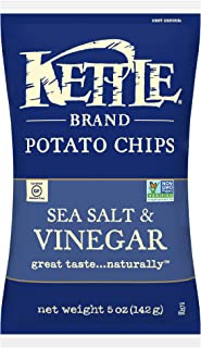 product image for Kettle Brand Potato Chips, Sea Salt and Vinegar, 5 Ounce Bags (Pack of 8)