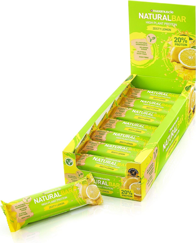 MAXIMUSCLE - Barra natural con sabor a limón, 18 barras