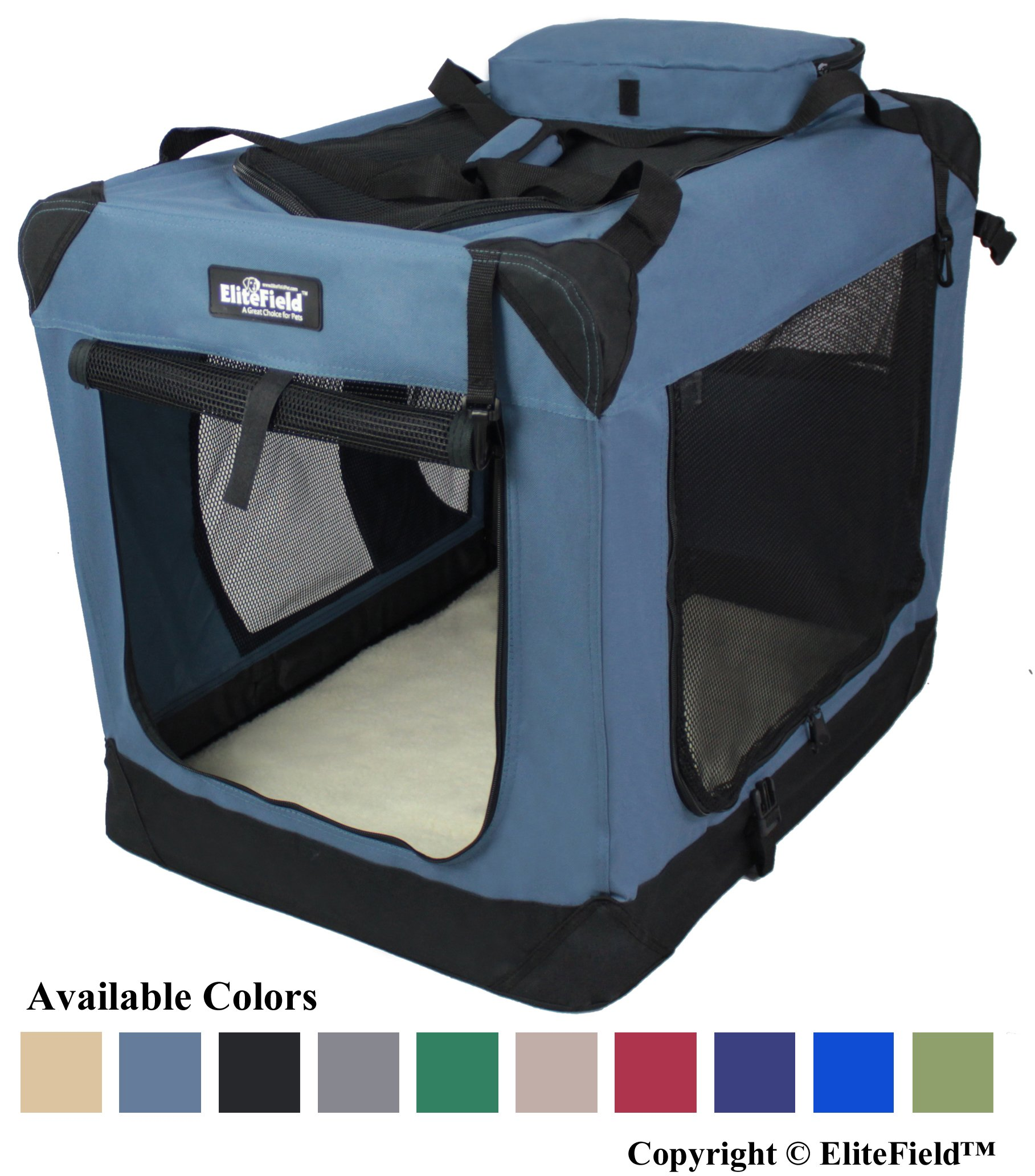 EliteField 3-Door Folding Soft Dog Crate, Indoor & Outdoor Pet Home, Multiple Sizes and Colors Available (42'' L x 28'' W x 32'' H, Blue Gray)