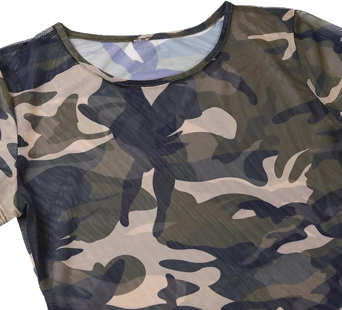 Damen Tarnung Seite Schlitz Sheer Mesh Durchsichtig Party Club T-Shirt Minikleid