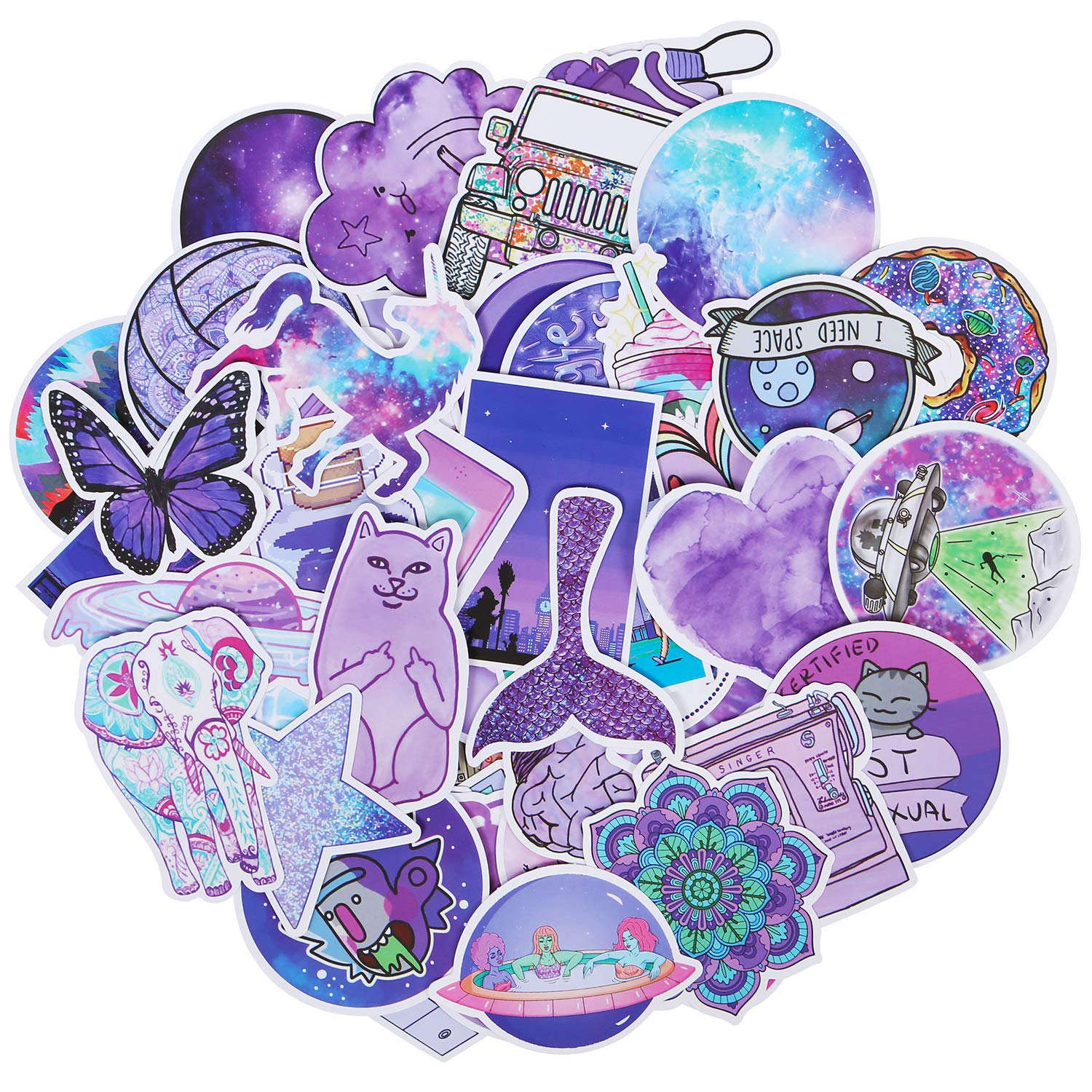 50 Pack Trendy VSCO Stickers Waterproof Water Bottle Stickers Laptop Stickers for VSCO Teen Girls Kids Guitar Skateboards Skate Stickers Unique Color Decals Roberly Cute Purple Stickers