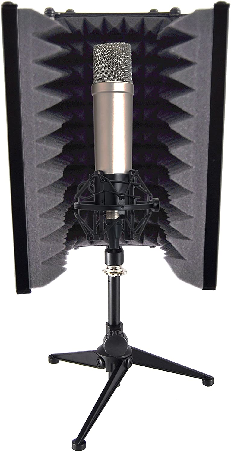 "Pyle Sound Isolation Recording Booth Shield - 2"" Thick Foldable Studio Microphone Dampening Filter Foam Cube, Audio Acoustic Noise Isolator Platform Pads w/ Wedgie Padding, Tripod Base Stand - PSMRS08"