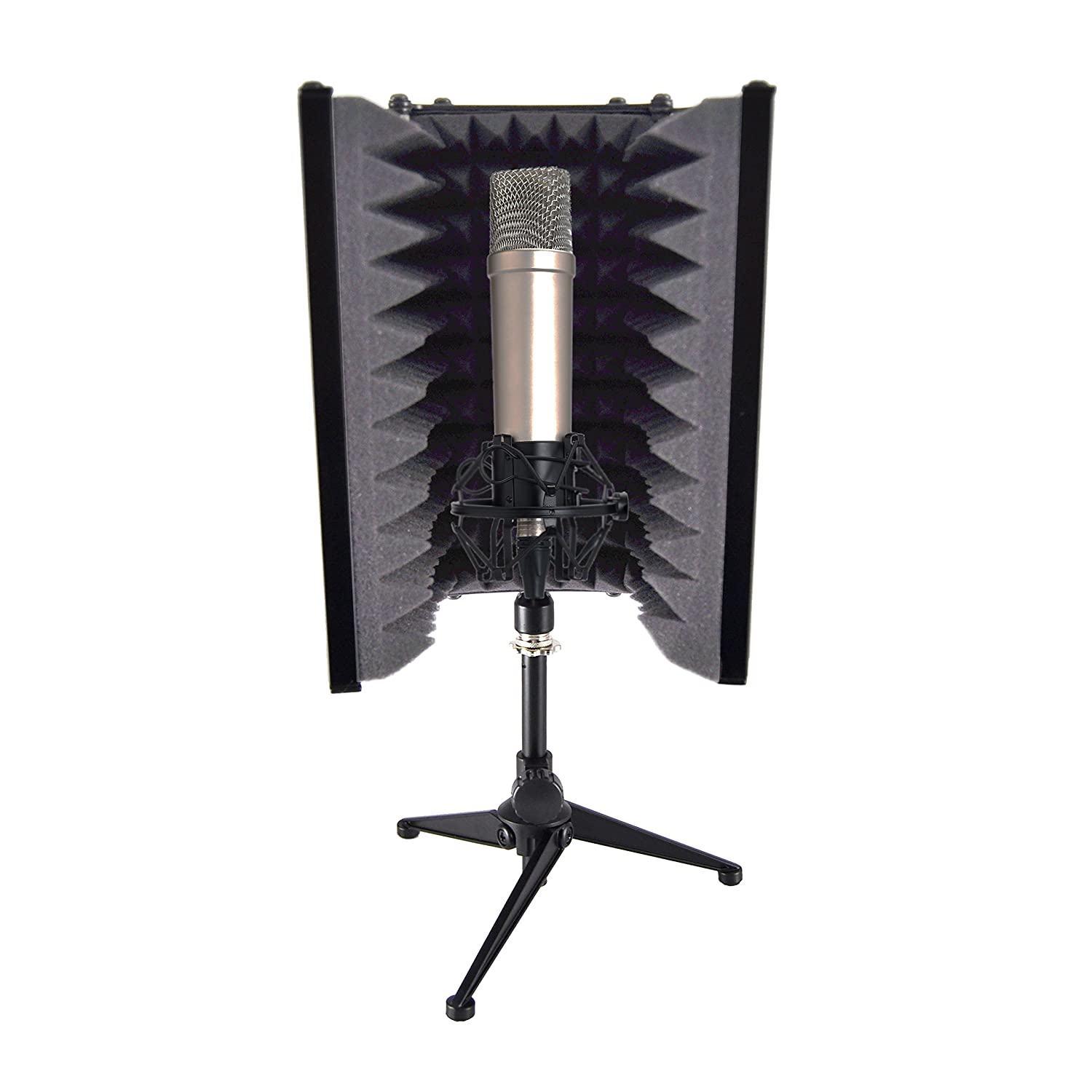 Pyle PSMRS08 Compact Microphone Isolation Shield, Studio Mic Sound Dampening Foam Reflector Sound Around