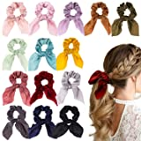 WATINC 14 Pcs Bowknot Hair Scrunchies Super Soft Silk Scarf Hair Ties 2 in 1 Design Solid Colors Scrunchie Ponytail Holder with Bows Pattern Hair Scrunchy Accessories Ropes for Women (Color: A-hair ties-Silk Tail 14p)