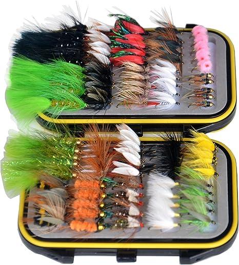 OutdoorPlanet Dry Fly, Mojado Moscas, NINFA y Serpentina Fly Lure + Impermeable Caja de Moscas para Trucha Pesca con Mosca Moscas, Paquete de 100: Amazon.es: Deportes y aire libre