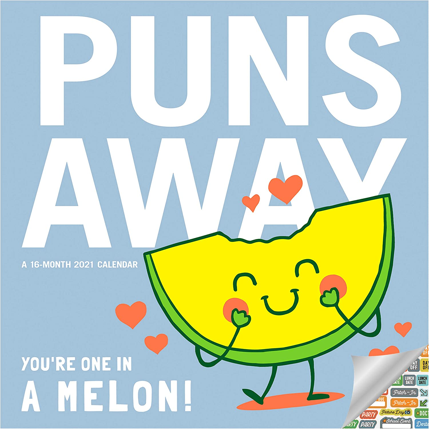 Puns Away Calendar 2021 Bundle - Deluxe 2021 Puns Calendar with Over 100 Calendar Stickers (Humorous and Funny Gifts, Office Supplies)