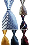 Wehug Lot 6 PCS Men's Ties 100% Silk Tie Woven Necktie Jacquard Neck Ties