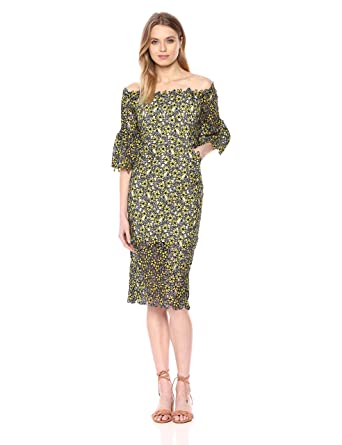 01059a6afdf6 Elliatt Women's Apparel Women's Floral Lace Off The Shoulder Bell Sleeve  Midi Sheath Dress at Amazon Women's Clothing store: