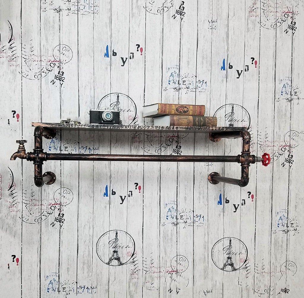 コートラックレトロ鉄パイプ衣服ハンガー寝室の壁掛け服ディスプレイ(88cm)   B07CH19RWG