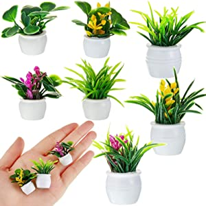 14 Pieces Dollhouse Plant Miniature Bonsai Plant Mini Potted Plant Flower Model Tiny Fake Greenery Ornament Dollhouse Furniture for Toddlers Girls and Boys, 7 Styles