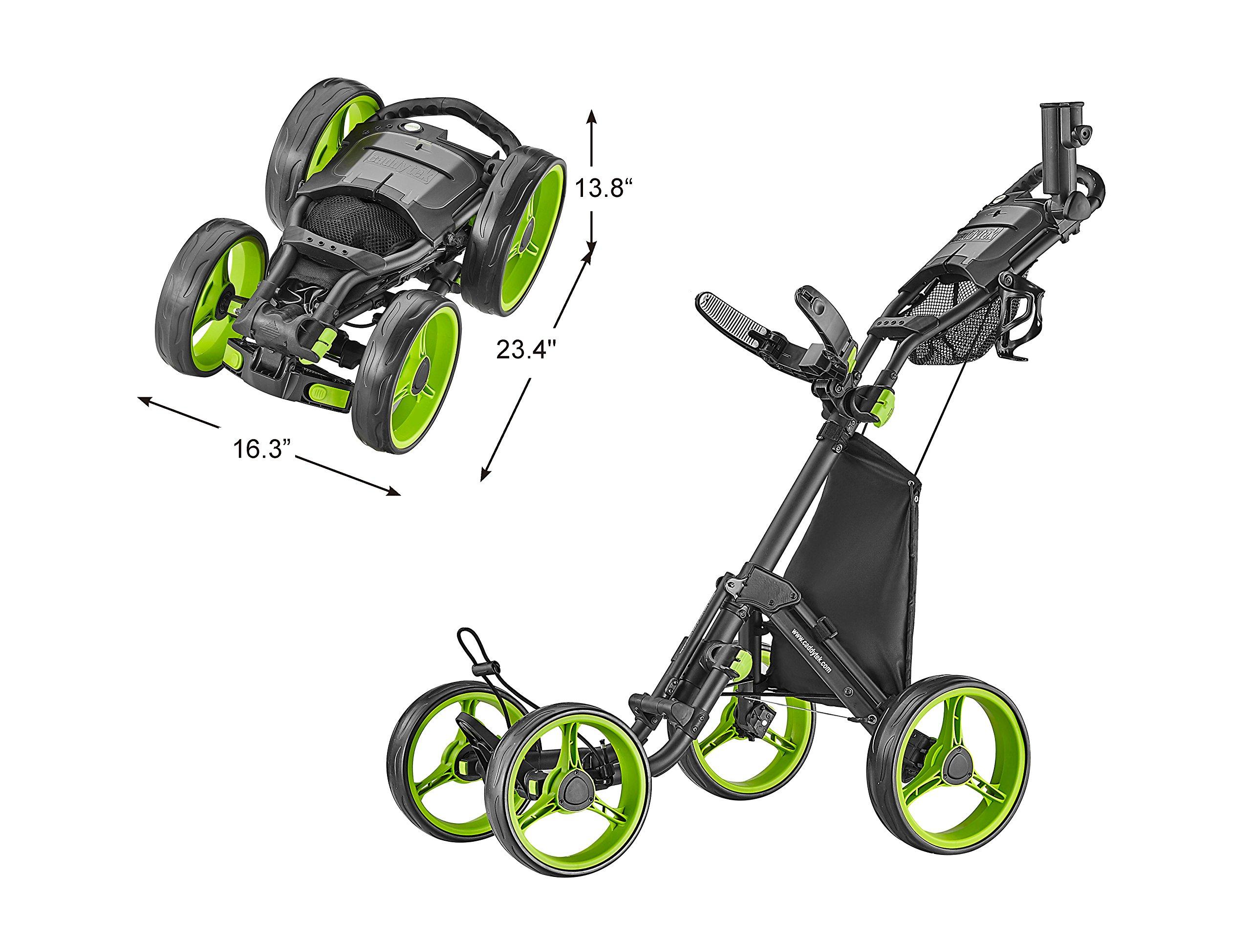 CaddyTek Explorer V8 - SuperLite 4 Wheel Golf Push Cart, Explorer Version 8, Lime by CaddyTek