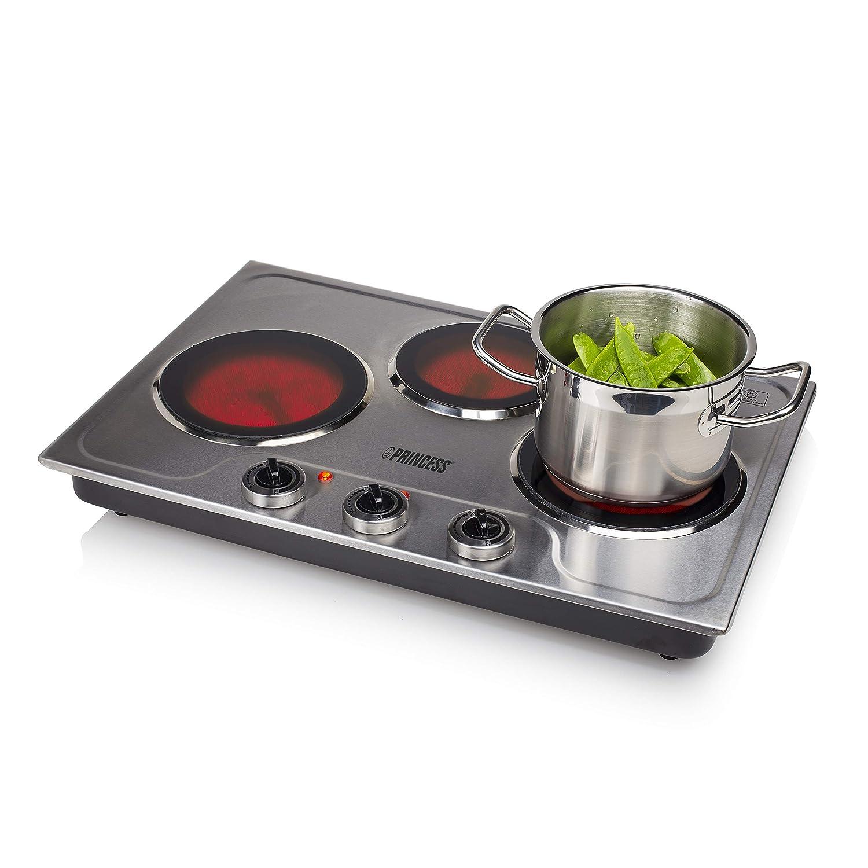 Princess 303009 Cocina eléctrica de cerámica con tres quemadores ...