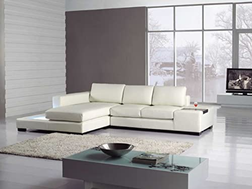 T35-Mini White Bonded Leather Sectional