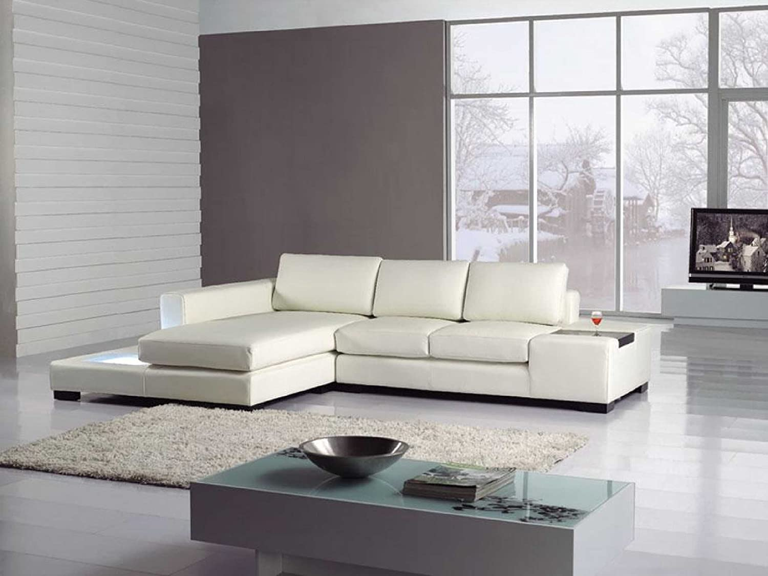 Amazon com t35 mini white bonded leather sectional with light kitchen dining