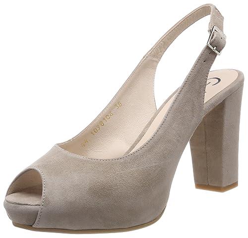 Zapatos beige de punta abierta para mujer Jv4m1f