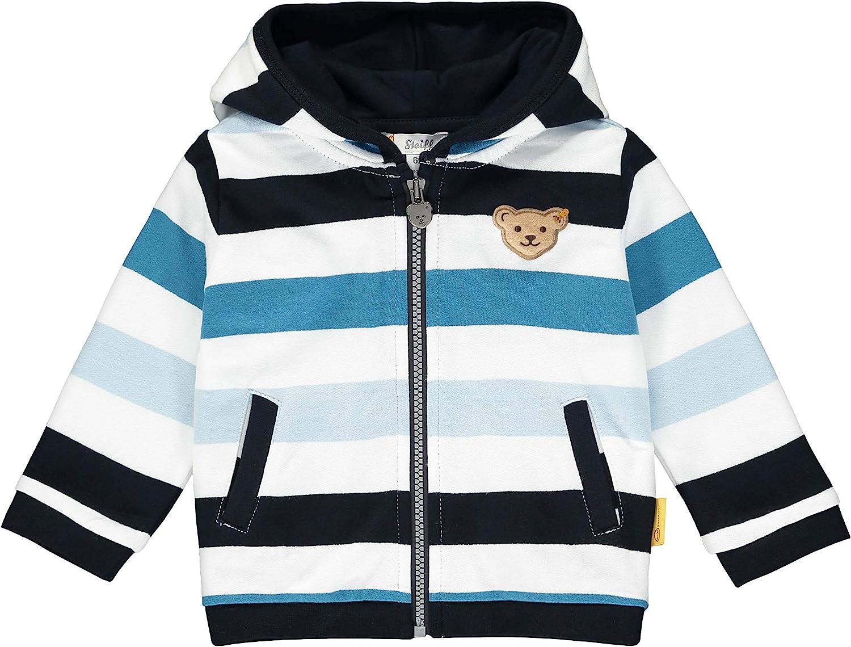 Steiff Baby-Jungen Mit Streifen und Teddyb/ärmotiv M/ütze