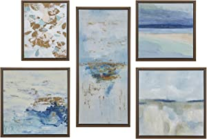 Madison Park Wall Art Living Room Décor - Galary Canvas Home Accent Modern Dining Bathroom Decoration, Ready to Hang Painting for Bedroom, Multi-Sizes, Blue Horizon, 5 Piece