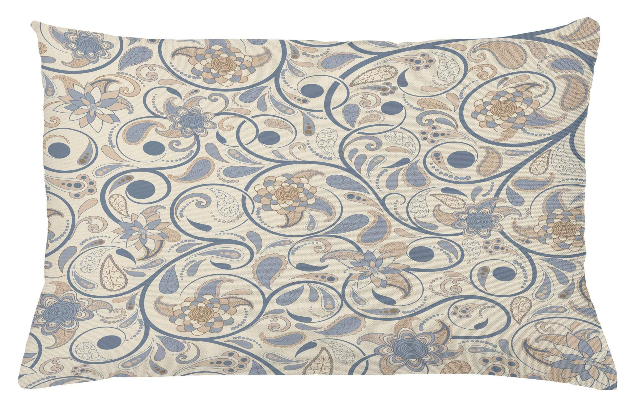 Ambesonne Vintage Throw Pillow Cushion Cover, Oriental Scroll with Swirling Leaves with Eastern Design Inspirations, Decorative Square Accent Pillow Case, 26 X 16 Inches, Beige Tan Slate Blue